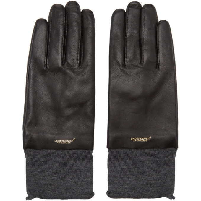 Photo: Undercover Black Leather and Wool UC Gloves