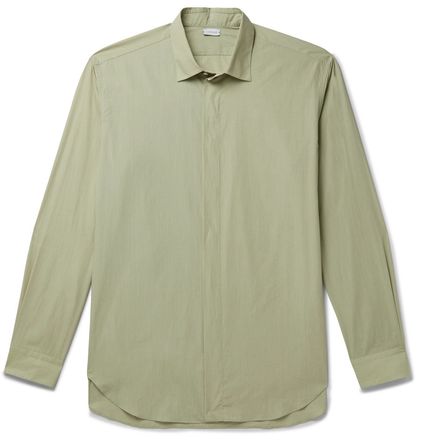 Photo: Caruso - Cutaway-Collar Cotton Shirt - Green