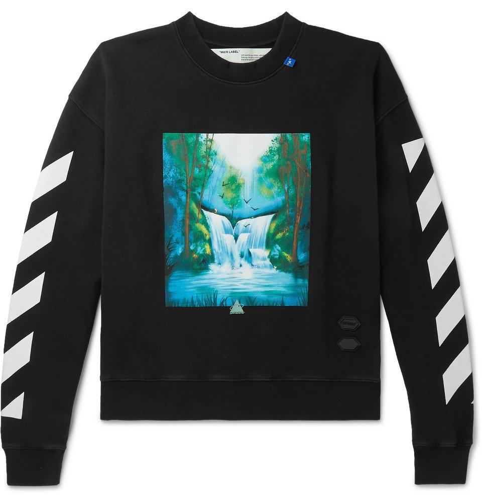 Photo: Off-White - Printed Loopback Cotton-Jersey Sweatshirt - Black