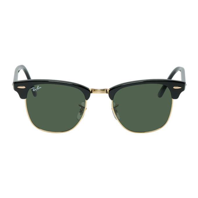 Photo: Ray-Ban Black and Gold Clubmaster Classic Sunglasses