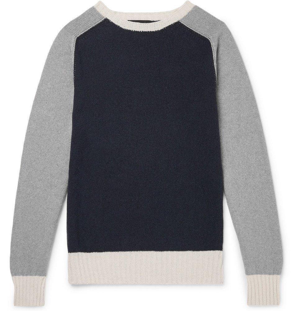 Photo: Howlin' - Colour-Block Lambswool and Cotton-Blend Sweater - Navy