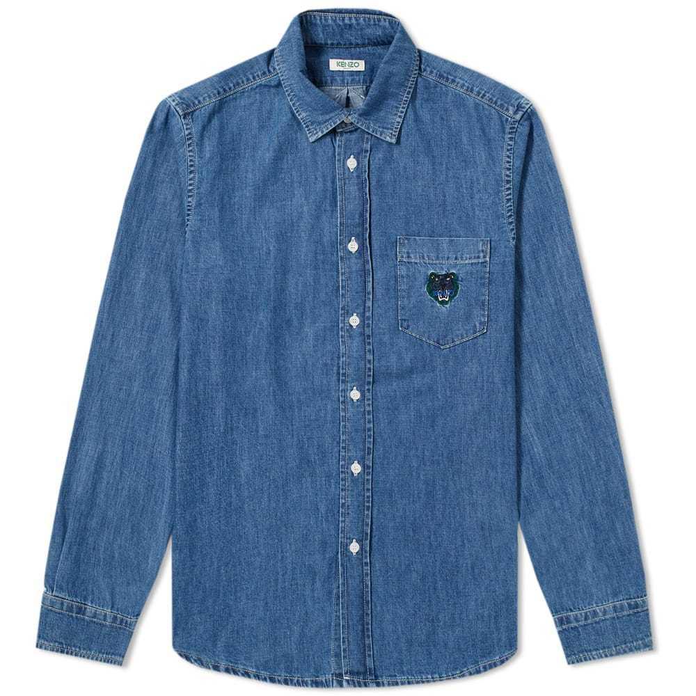 Photo: Kenzo Tiger Pocket Denim Shirt Blue