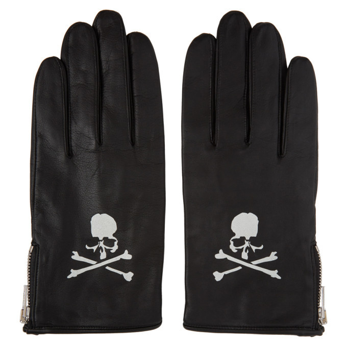 Photo: mastermind WORLD Black Leather Logo Gloves