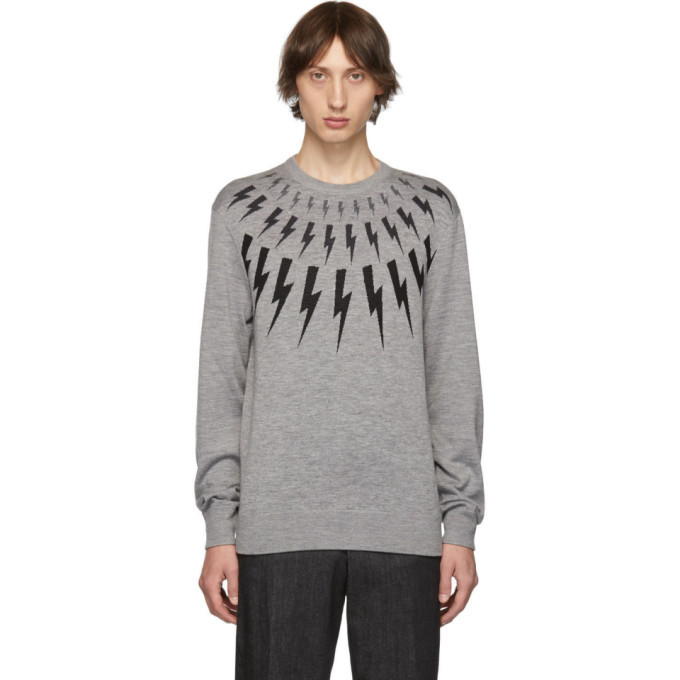 Photo: Neil Barrett Grey Multi Lightning Bolt Sweater