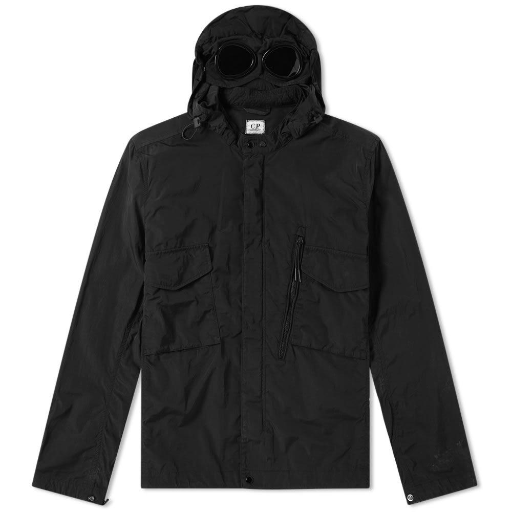 C.P. Company Chrome Goggle Hooded Shirt Jacket Black