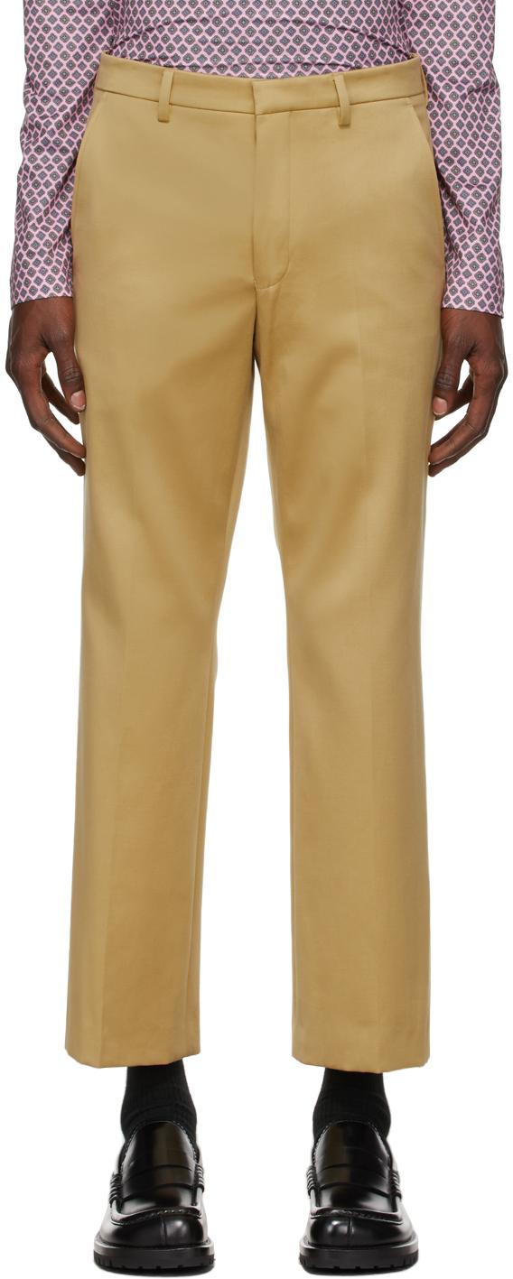 Photo: Dries Van Noten Beige Straight Leg Trousers