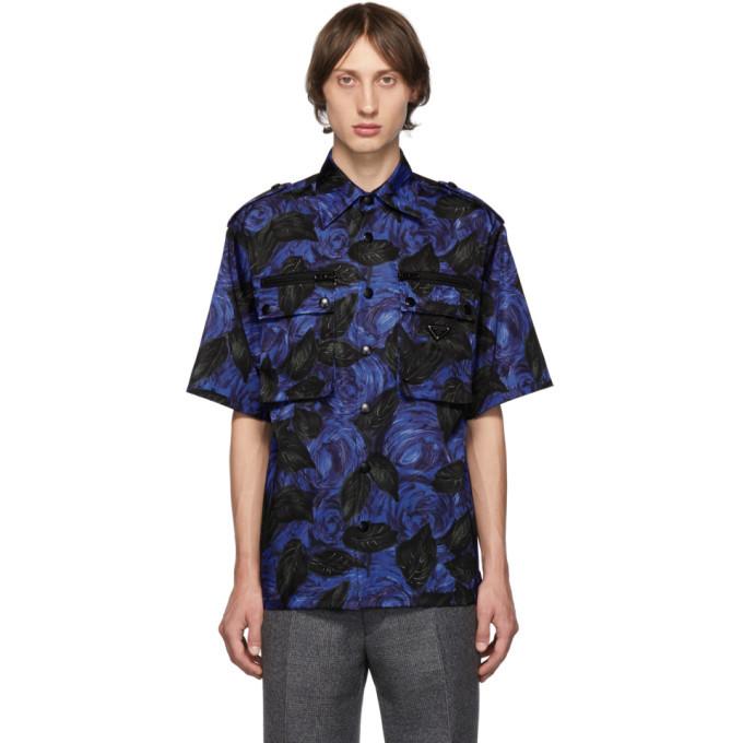 Photo: Prada Blue Dark Rose Print Bowling Shirt