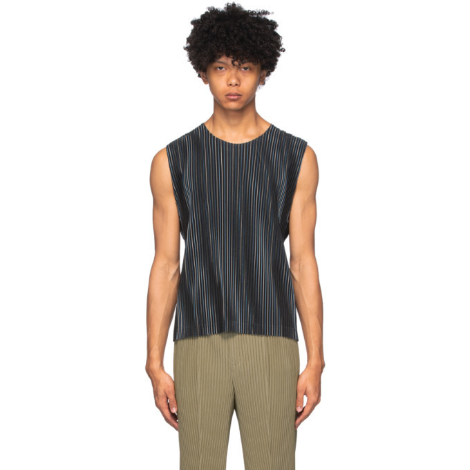 Photo: Homme Plisse Issey Miyake Navy Striped Tank Top