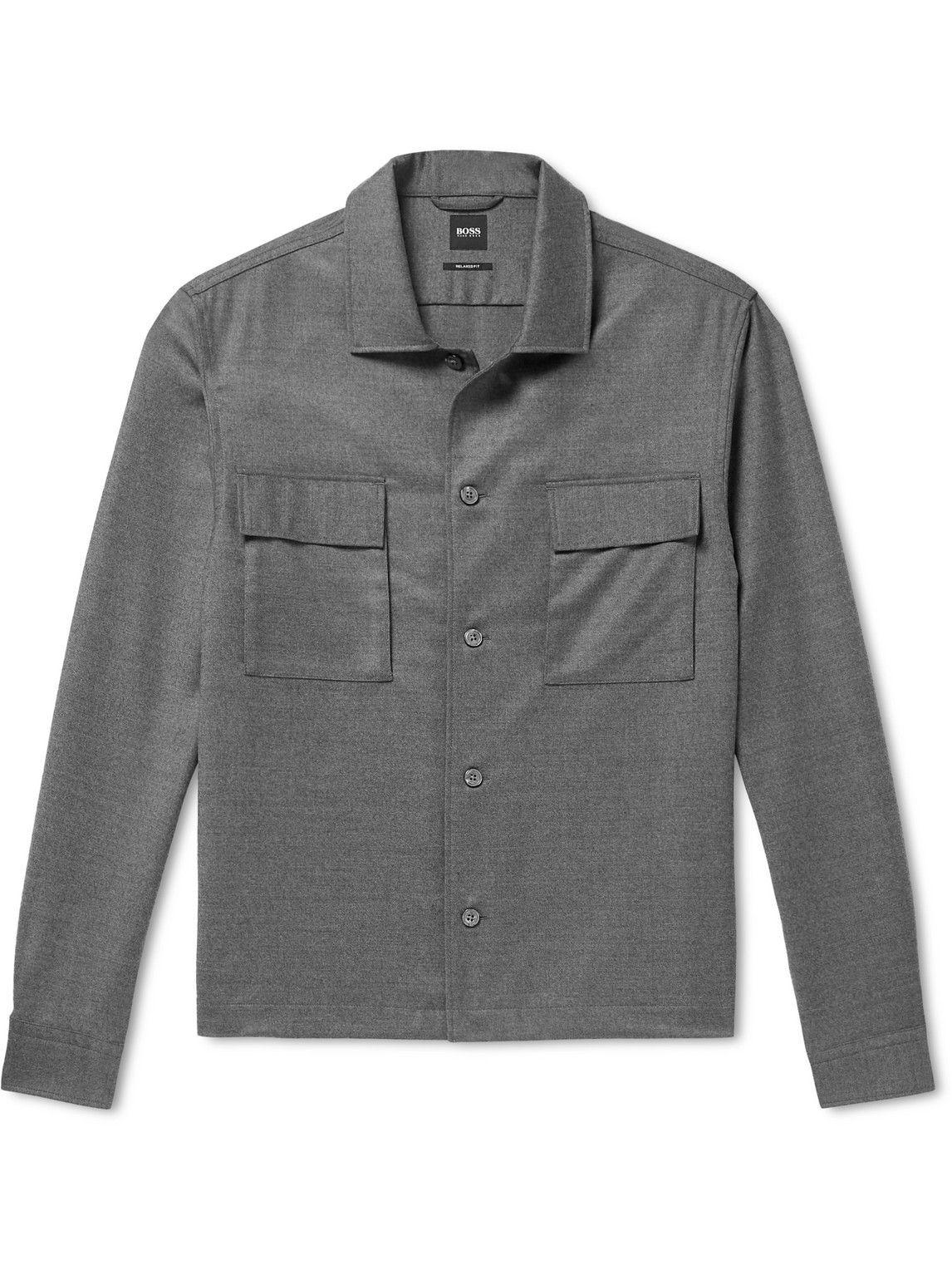 Photo: Hugo Boss - Nolan Virgin Wool-Blend Flannel Overshirt - Gray