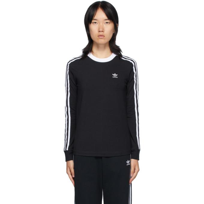 Photo: adidas Originals Black 3-Stripes Long Sleeve T-Shirt