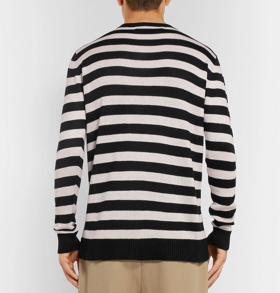 The Elder Statesman - Striped Silk Sweater - Black