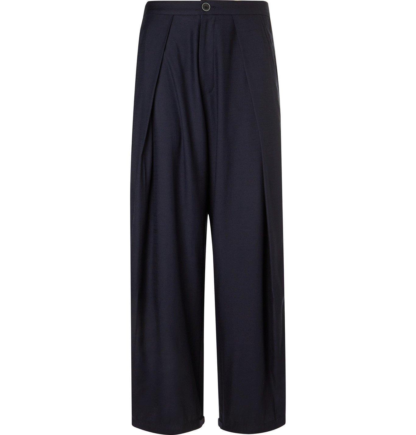 Photo: Blue Blue Japan - Wide-Leg Pleated Wool-Blend Trousers - Blue