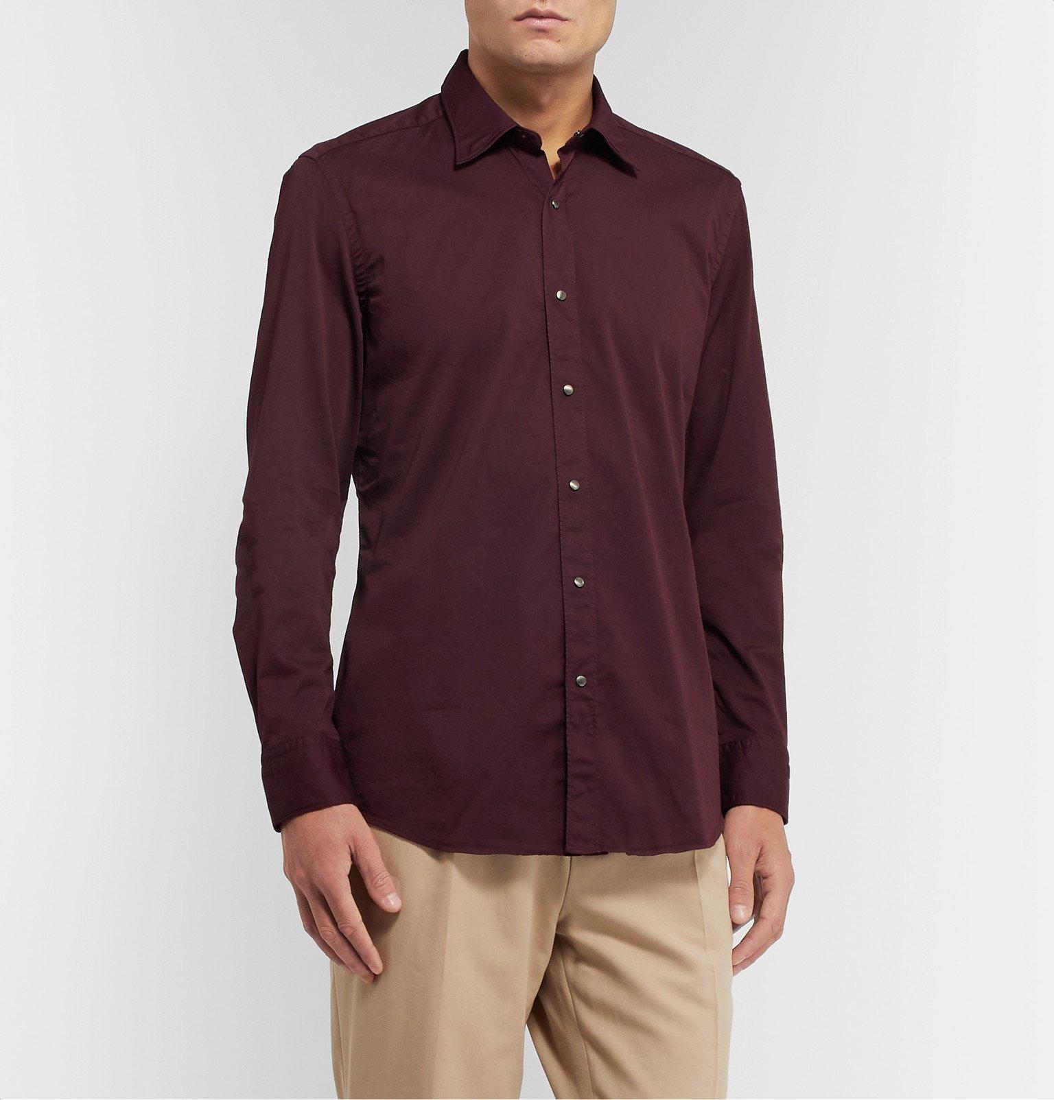 Tod's - Slim-Fit Garment-Dyed Cotton-Blend Twill Shirt - Burgundy