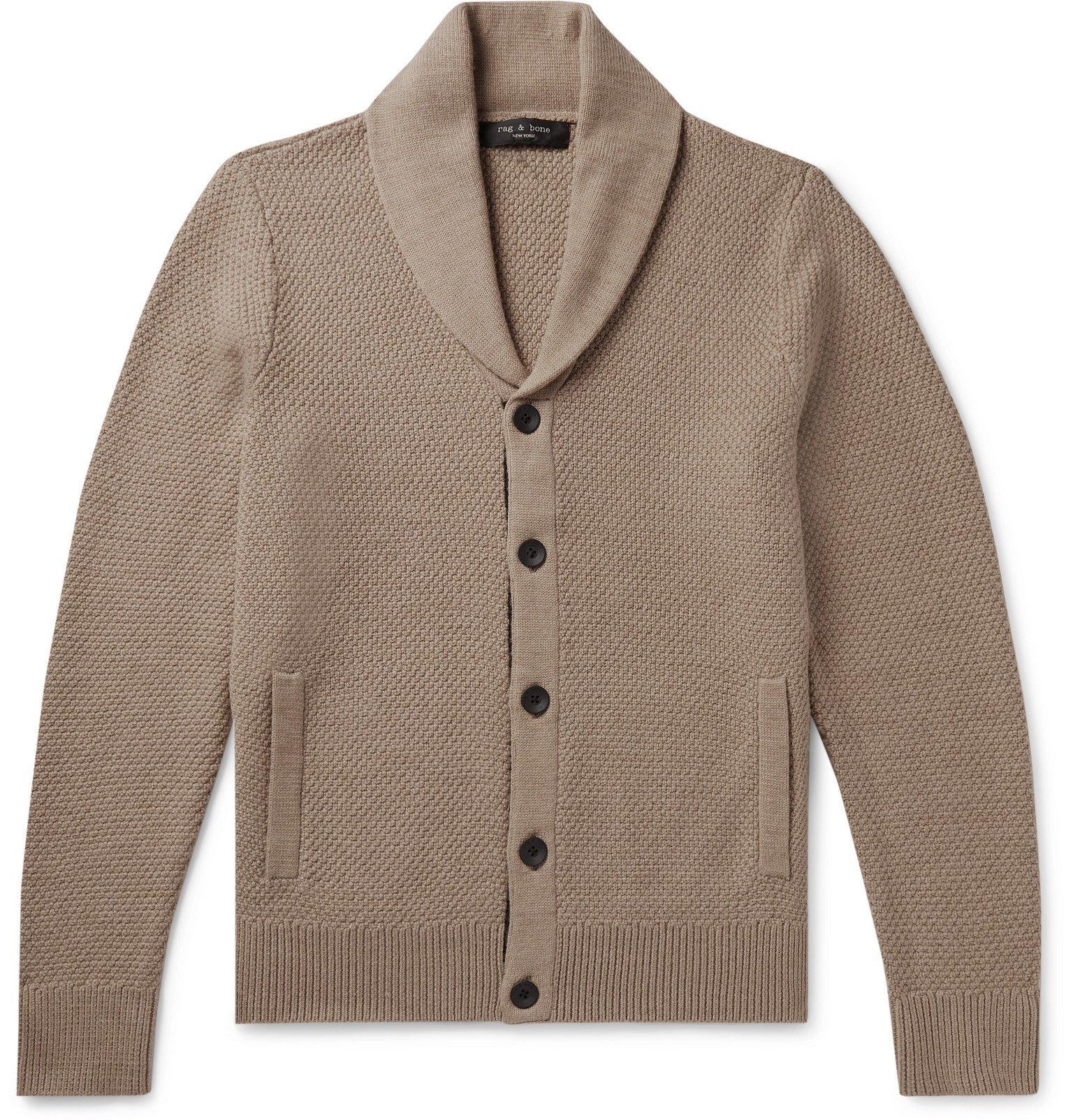 Photo: rag & bone - Cardiff Shawl-Collar Merino Wool and Cotton-Blend Cardigan - Neutrals