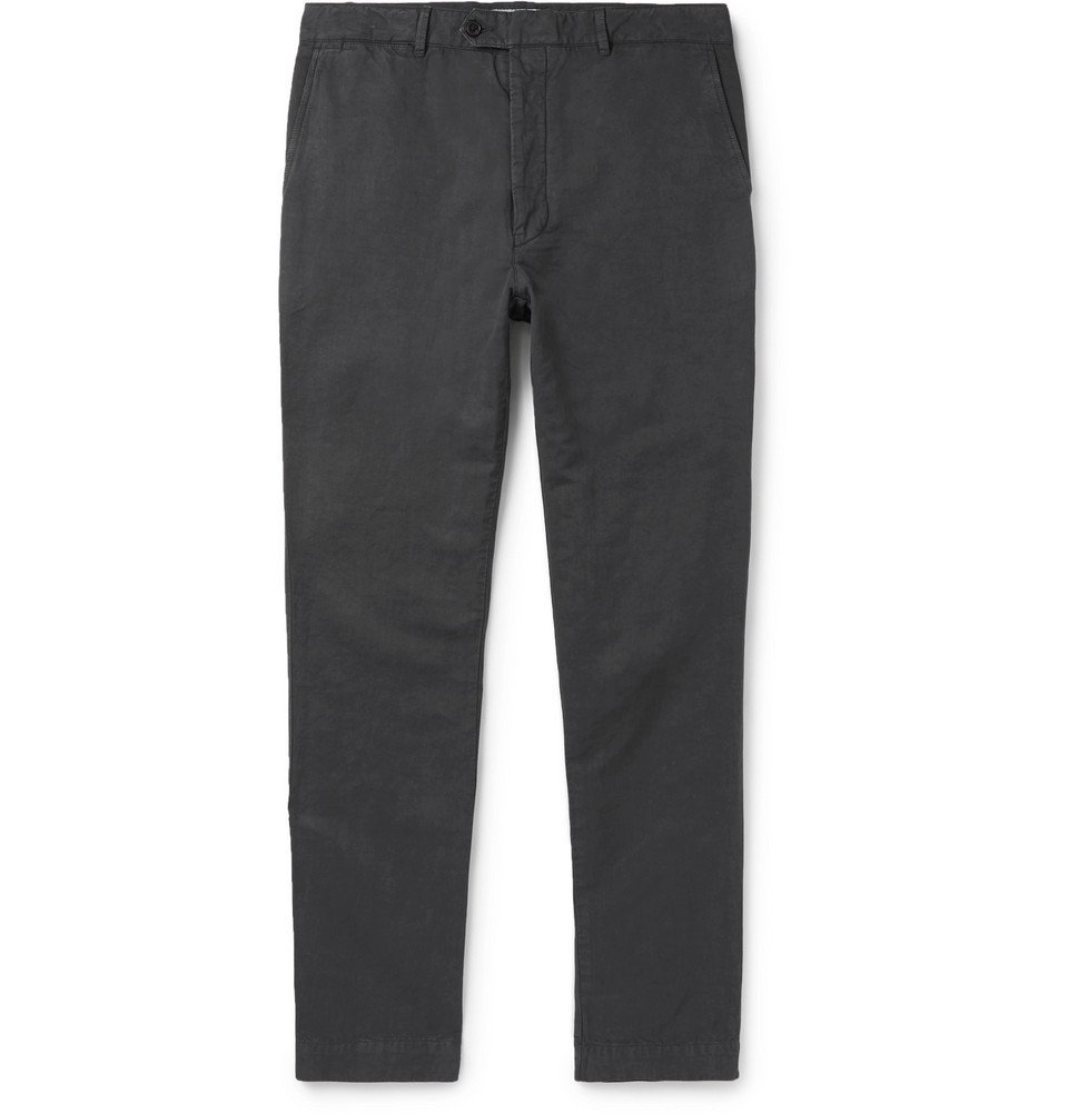 Photo: Officine Generale - New Fisherman Slim-Fit Garment-Dyed Cotton and Linen-Blend Chinos - Charcoal