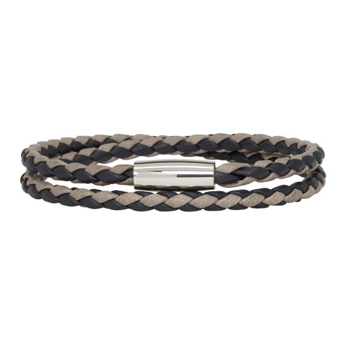 Photo: Boss Black and Grey Braided Double Wrap Bram Bracelet