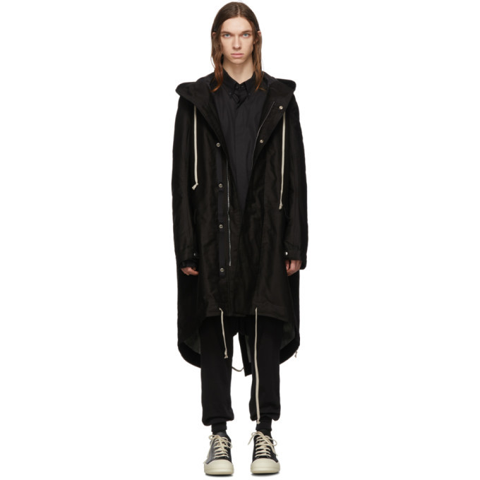Photo: Rick Owens Drkshdw Black and Silver Fishtail Parka Coat