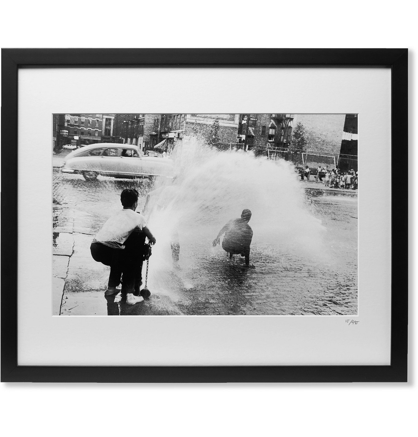 """Photo: Sonic Editions - Framed 1960 Heat Wave in NYC Print, 20 x 16"""""""" - Black"""