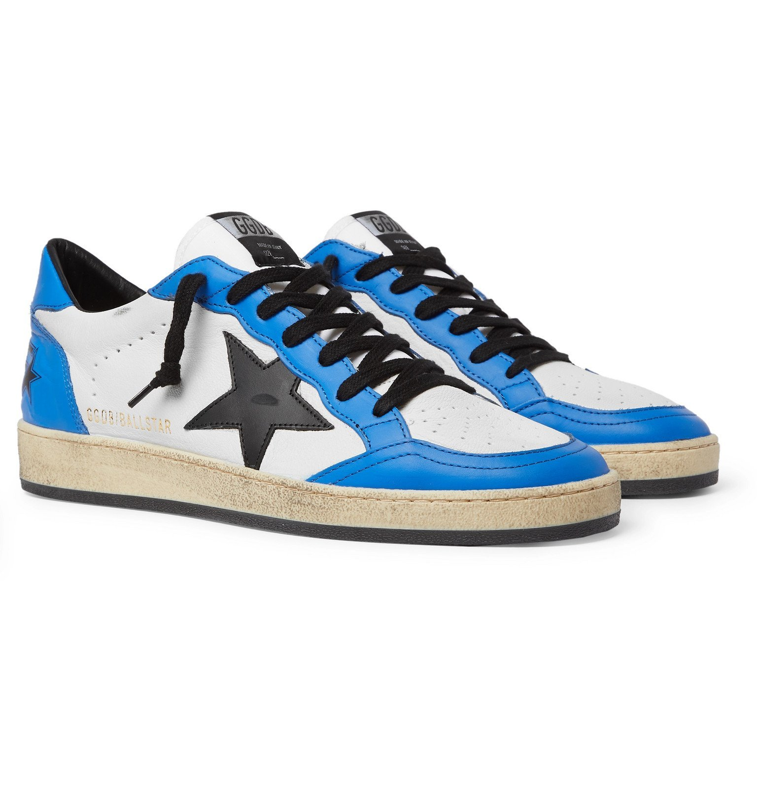 Photo: Golden Goose - Ball Star Distressed Leather Sneakers - Blue