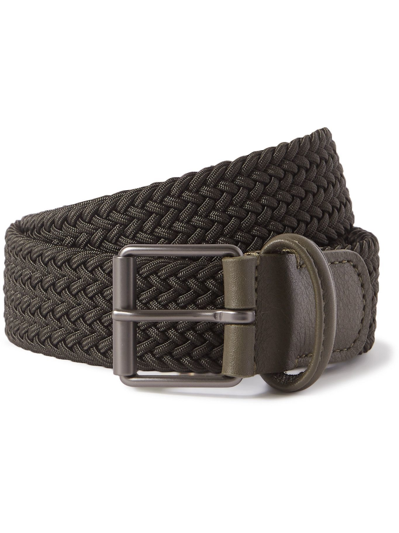 Photo: ANDERSON'S - 3.5cm Leather-Trimmed Woven Elastic Belt - Green