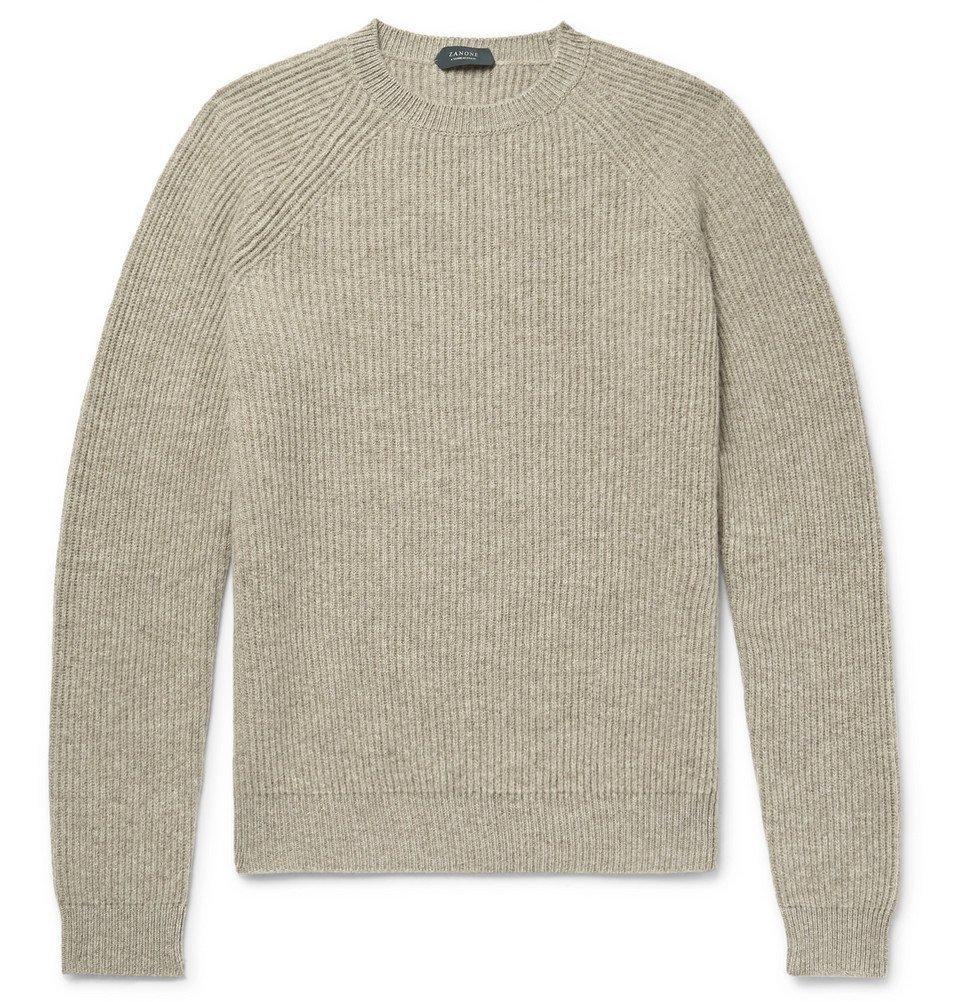 Photo: Incotex - Ribbed Mélange Virgin Wool Sweater - Mushroom