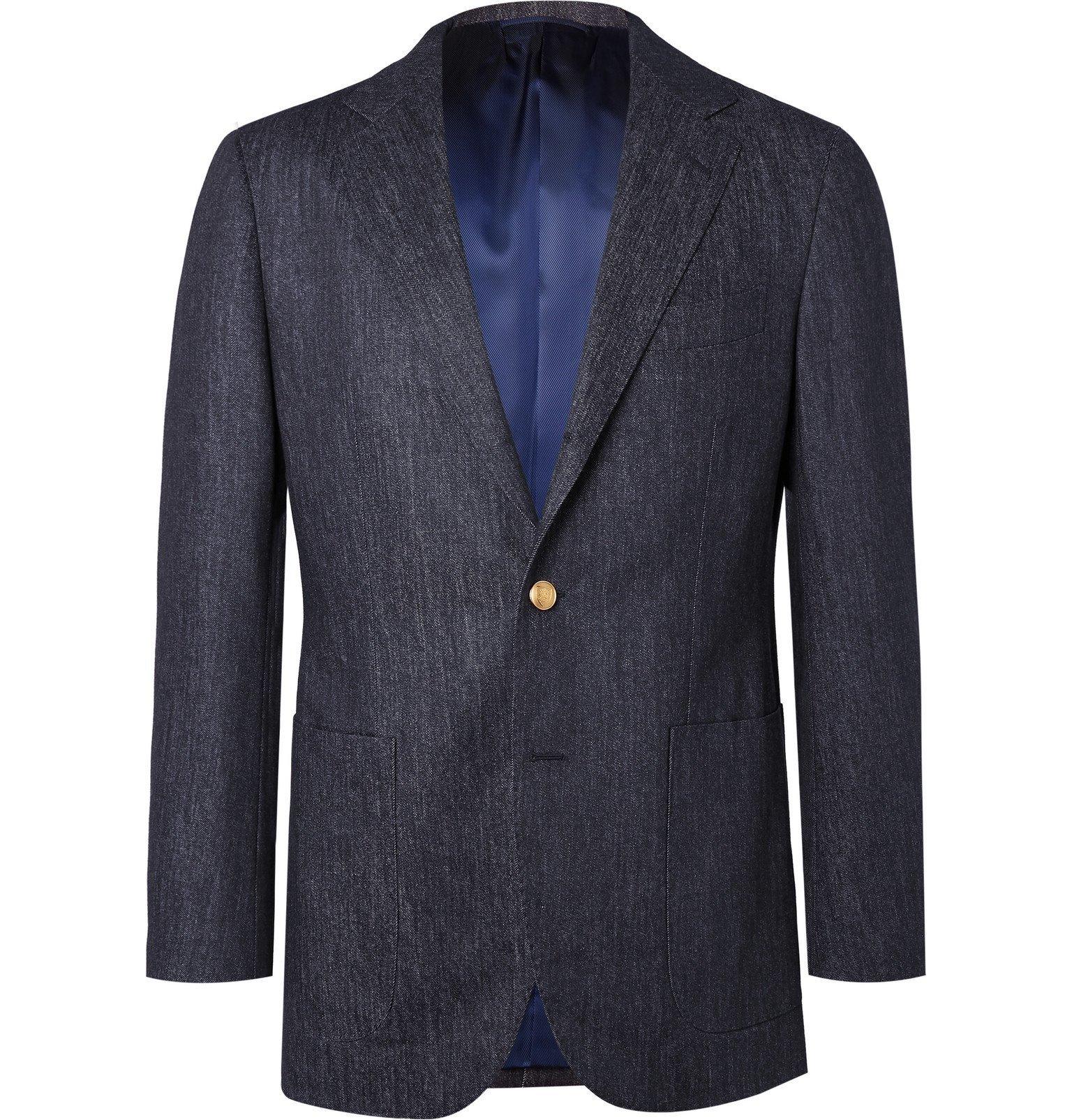 Photo: Beams F - Navy Slim-Fit Trofeo Wool-Denim Blazer - Blue