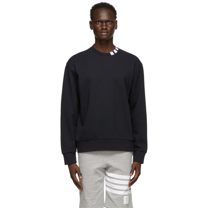 Photo: Thom Browne Navy Loopback 4-Bar Sweatshirt