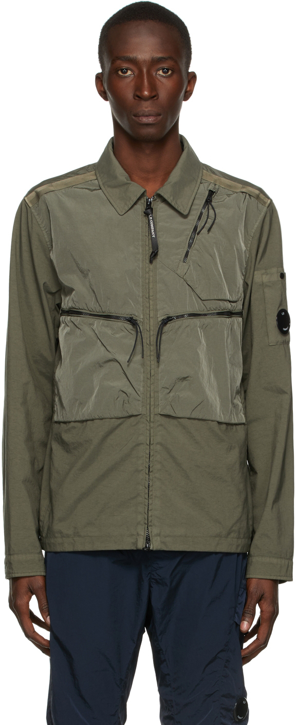 Photo: C.P. Company Green Taylon P Mixed Overshirt Jacket