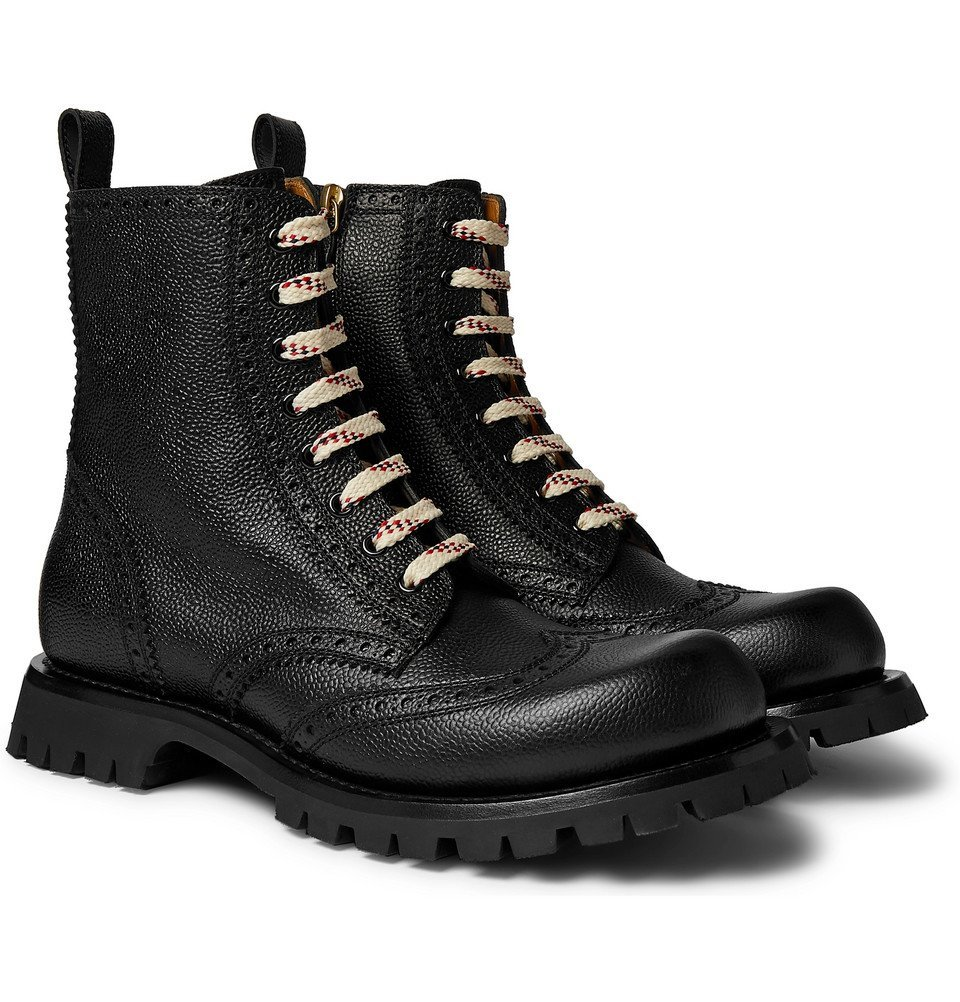 Photo: Gucci - New Arley Full-Grain Leather Brogue Boots - Black