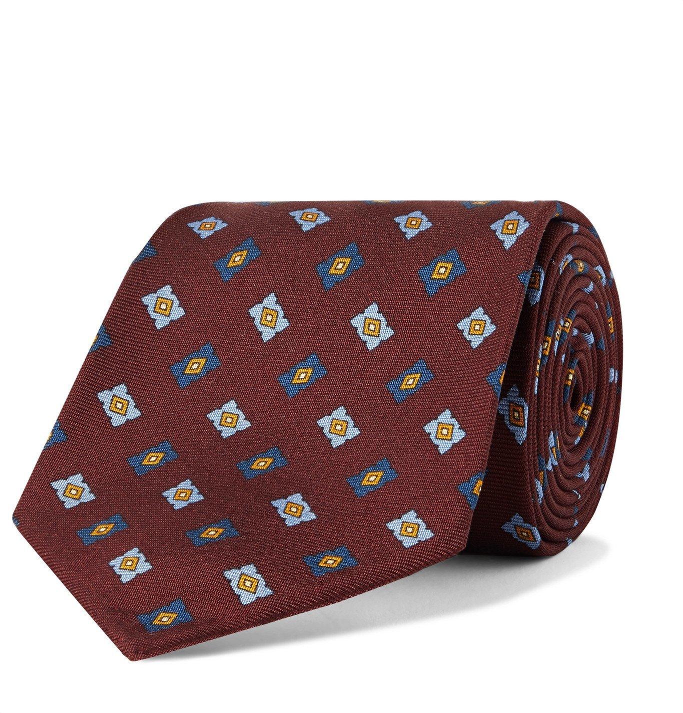 Photo: Rubinacci - 8cm Printed Silk-Twill Tie - Burgundy