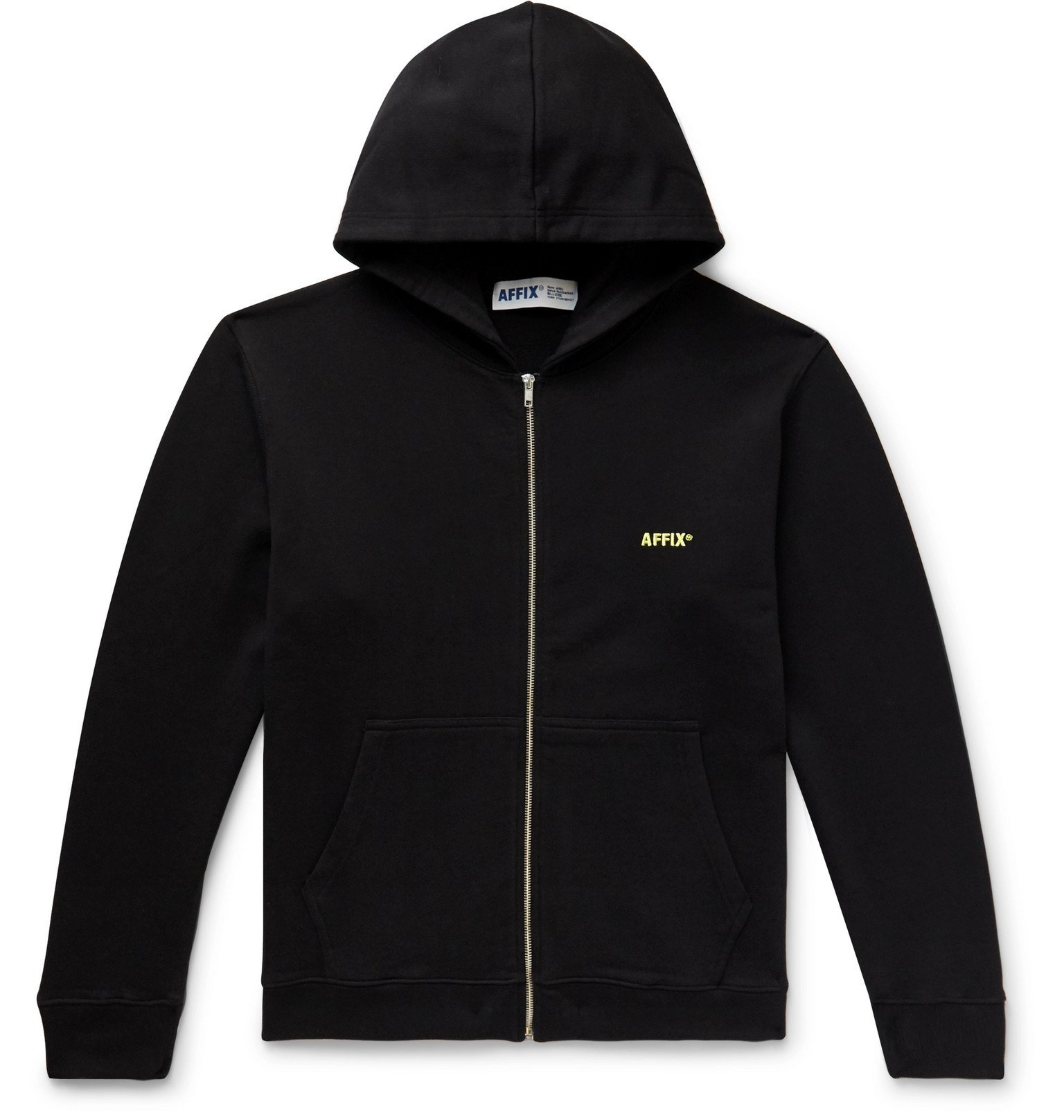 Photo: AFFIX - Logo-Embroidered Loopback Cotton-Jersey Zip-Up Hoodie - Black