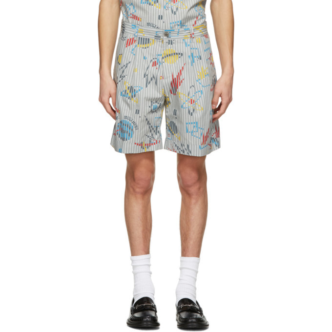 Photo: Moschino Blue and Grey Stripe Planet Shorts