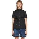 Sacai Black Poplin Belted Zip Shirt