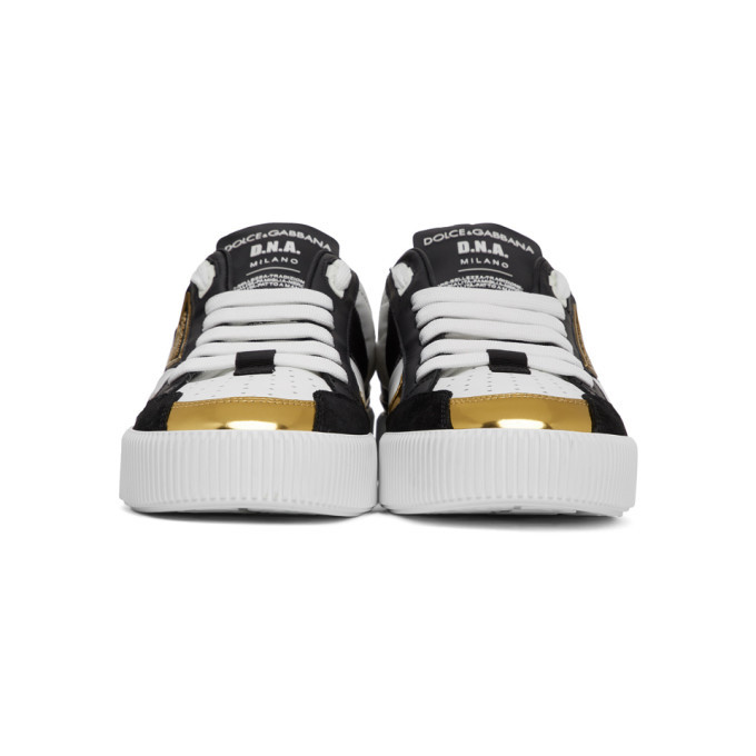 Dolce and Gabbana Black and White Logo Sneakers