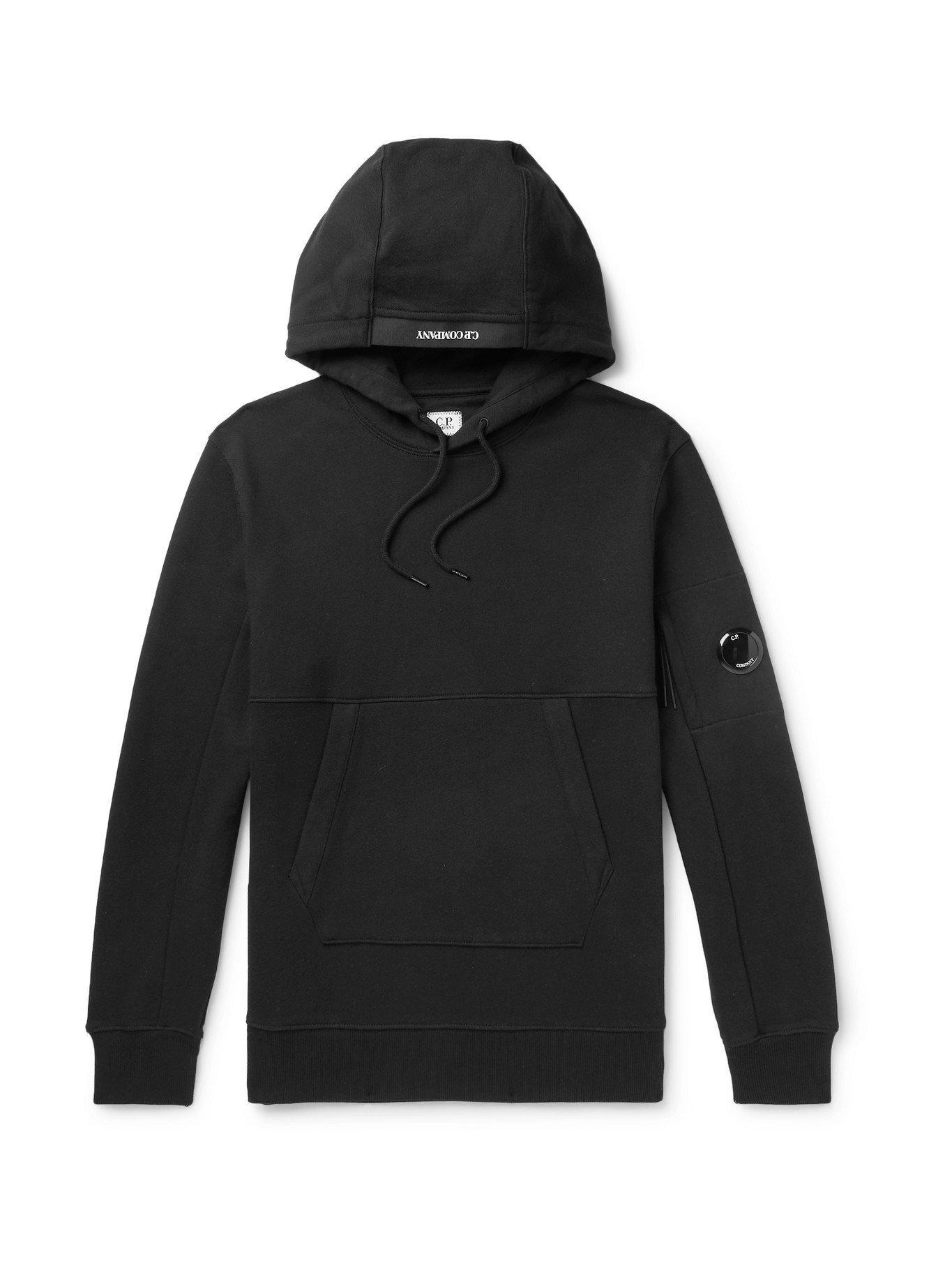 C.P. COMPANY - Logo-Appliquéd Garment-Dyed Cotton-Jersey Hoodie - Black - M