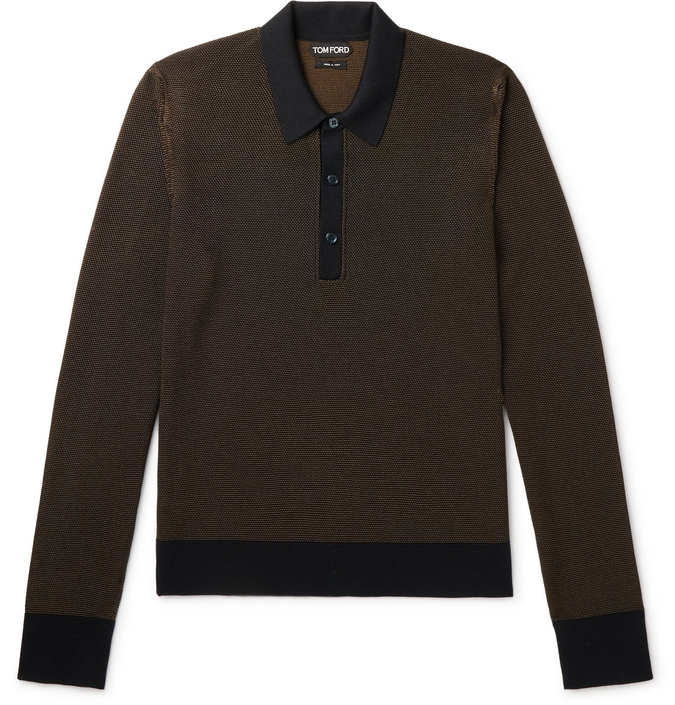 Photo: TOM FORD - Slim-Fit Textured Silk and Cashmere-Blend Polo Shirt - Brown