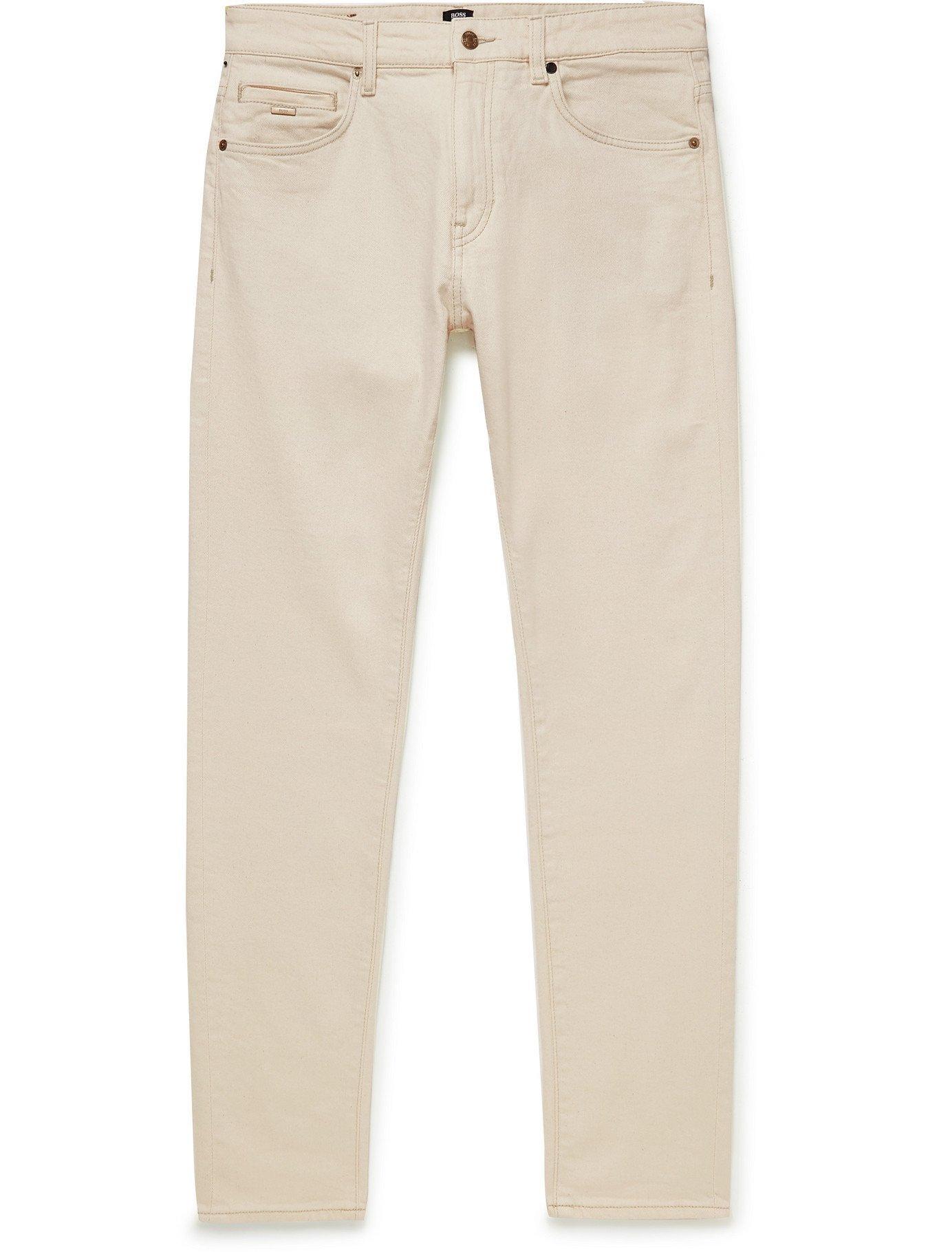 HUGO BOSS - Slim-Fit Tapered Stretch-Denim Jeans - Neutrals