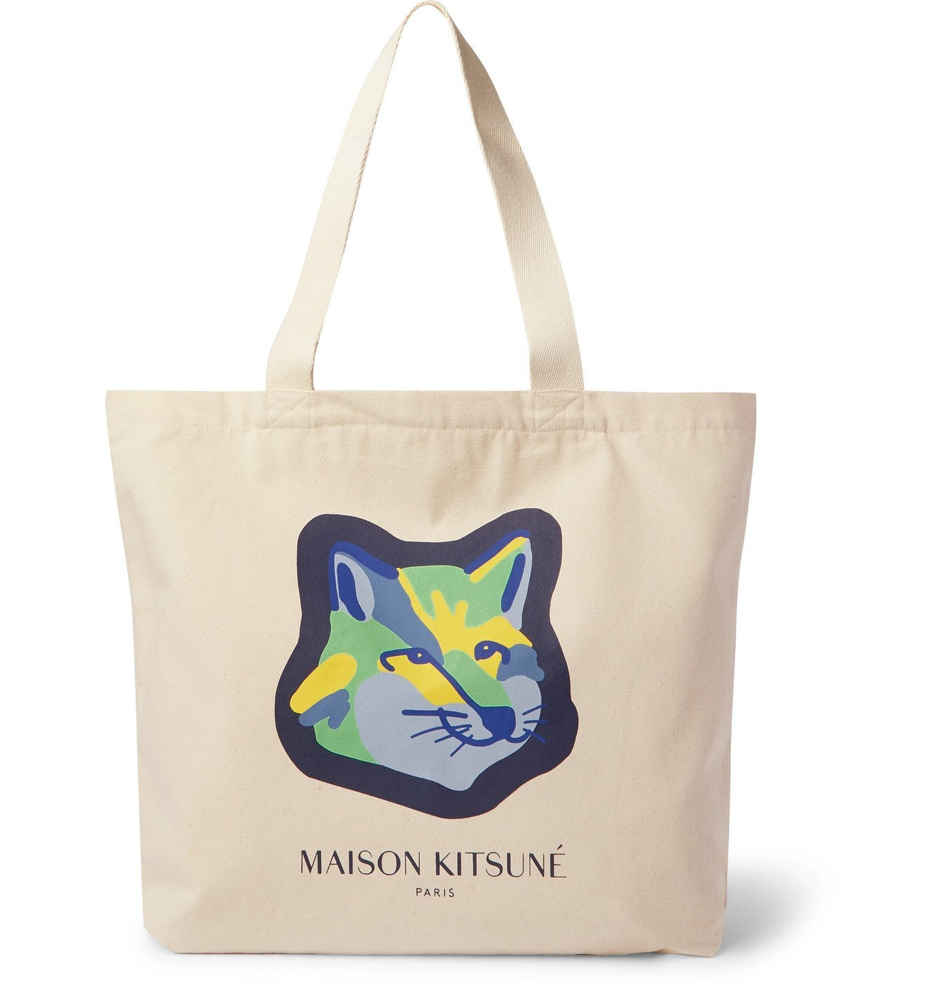 Photo: Maison Kitsuné - Logo-Print Cotton Tote Bag - Neutrals