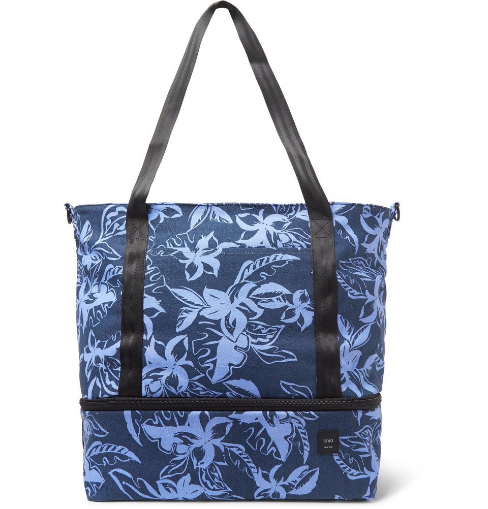 Photo: Onia - Printed Cotton-Canvas Tote Bag - Navy