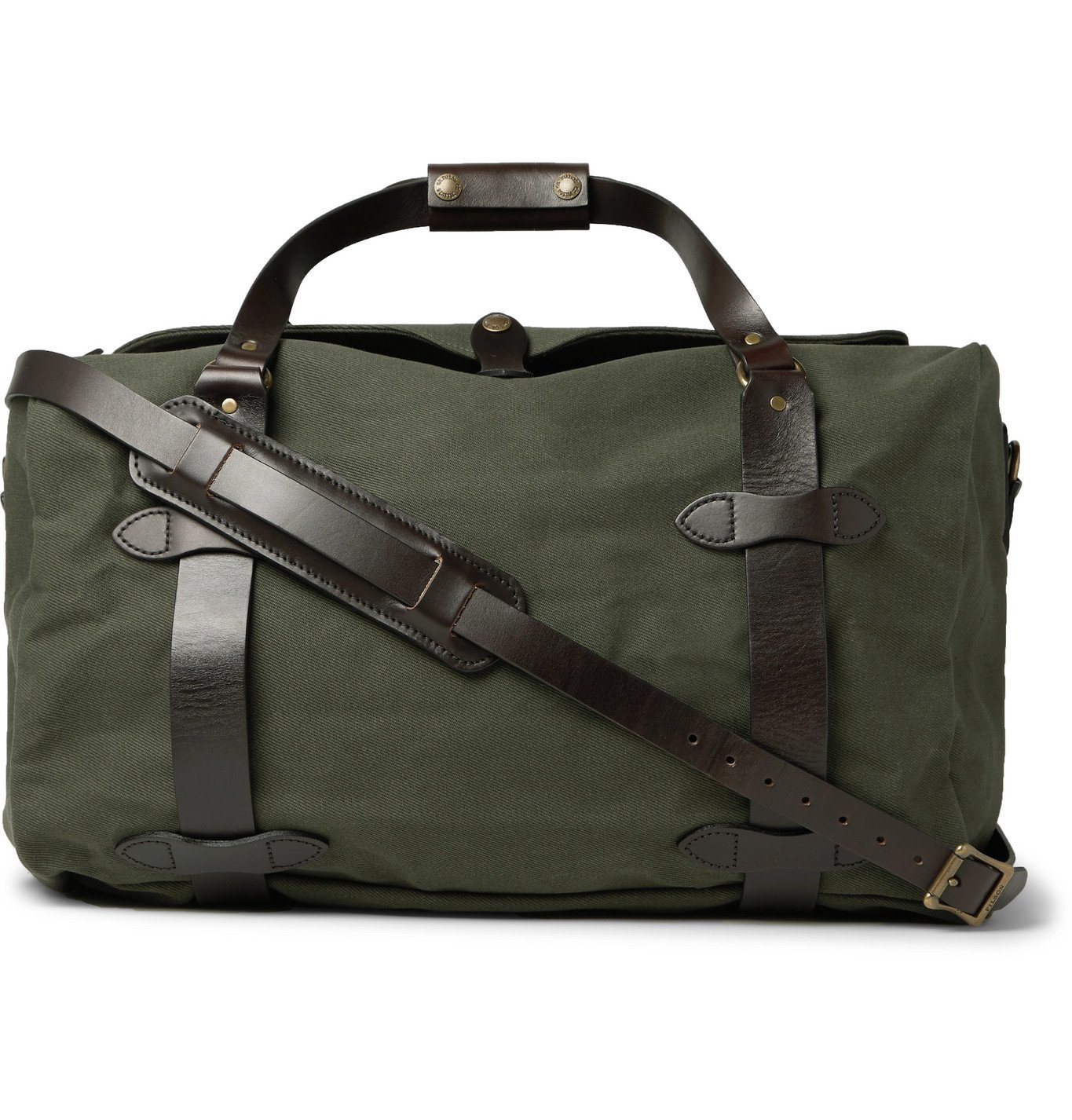 Photo: Filson - Leather-Trimmed Twill Duffle Bag - Green