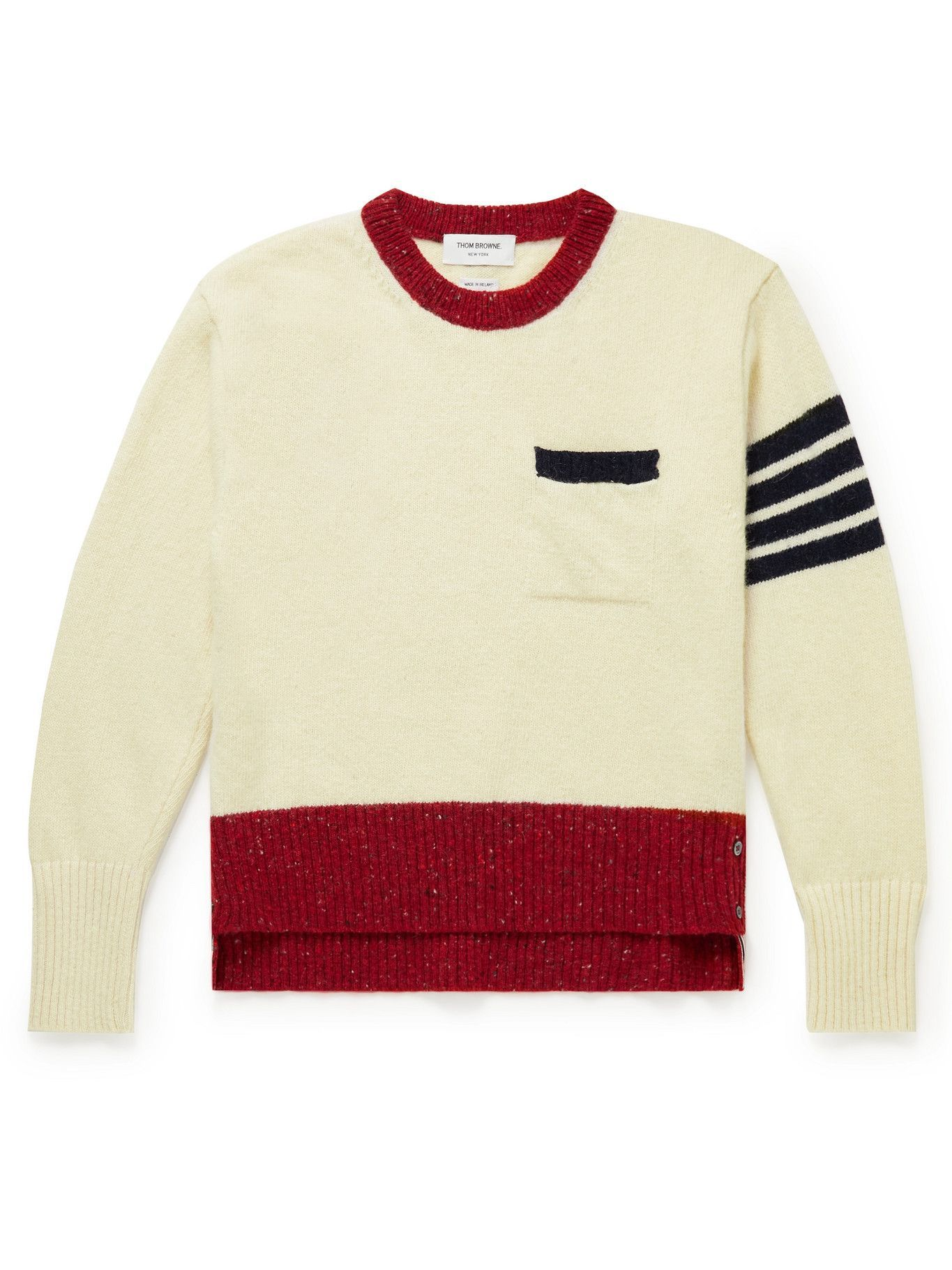 Thom Browne - Striped Wool and Mohair-Blend Sweater - White