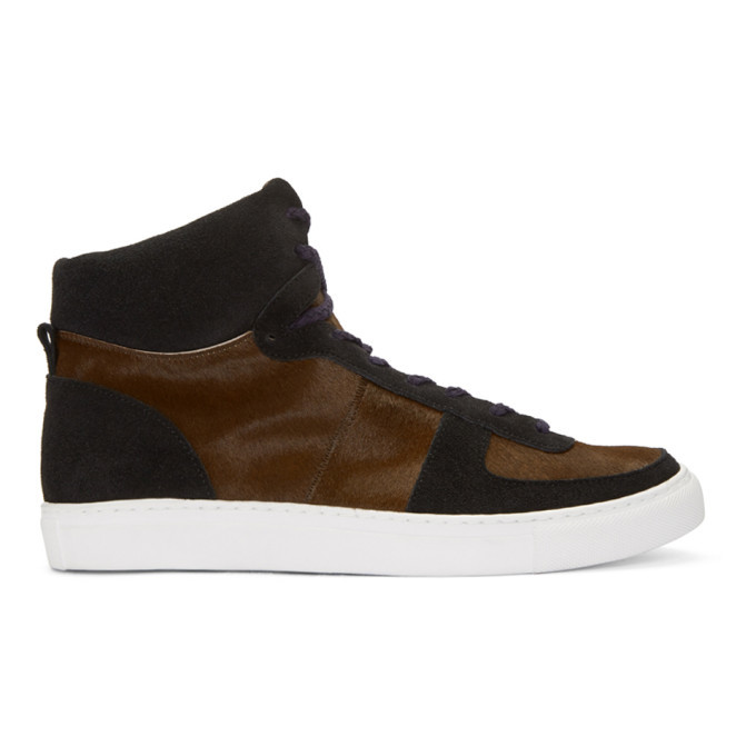 Photo: Kolor Brown Calf-Hair High-Top Sneakers