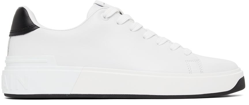Photo: Balmain White & Black Leather B-Court Sneakers