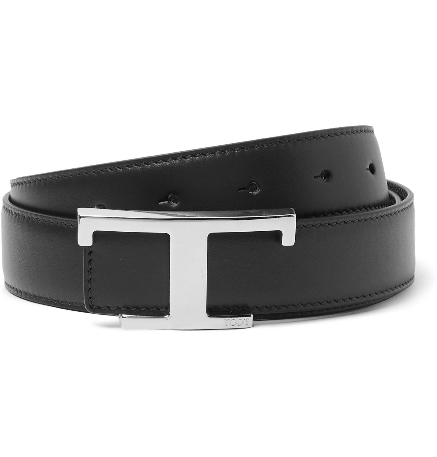 Photo: Tod's - 3cm Reversible Smooth and Full-Grain Leather Belt - Black