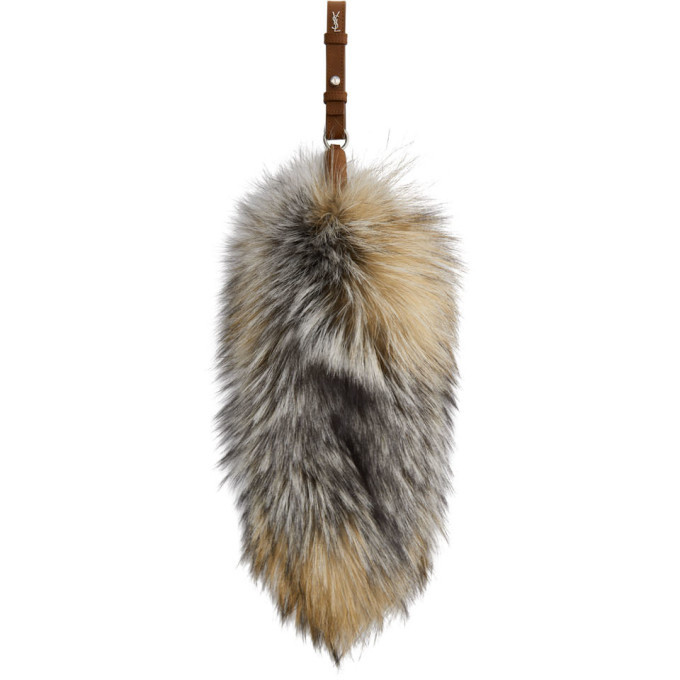 Photo: Saint Laurent Brown Fox Fur Keychain