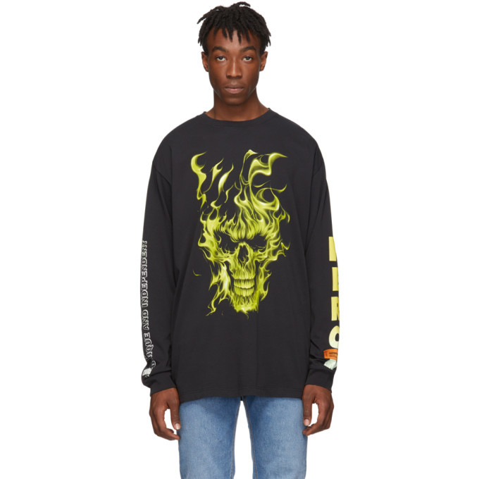 Photo: Heron Preston Black Oversized Skull Long Sleeve T-Shirt