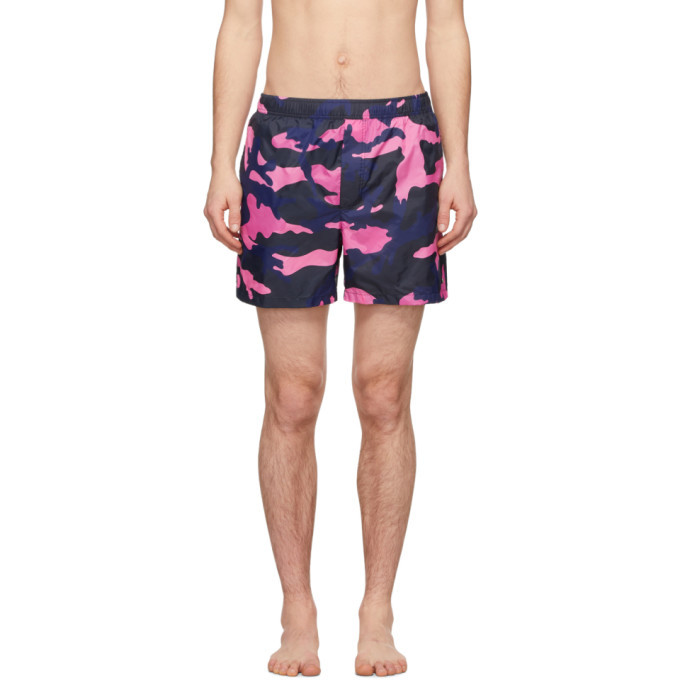 Photo: Valentino Pink and Navy Camo Swim Shorts
