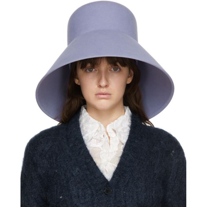 Nina Ricci Purple Fur Structured Hat