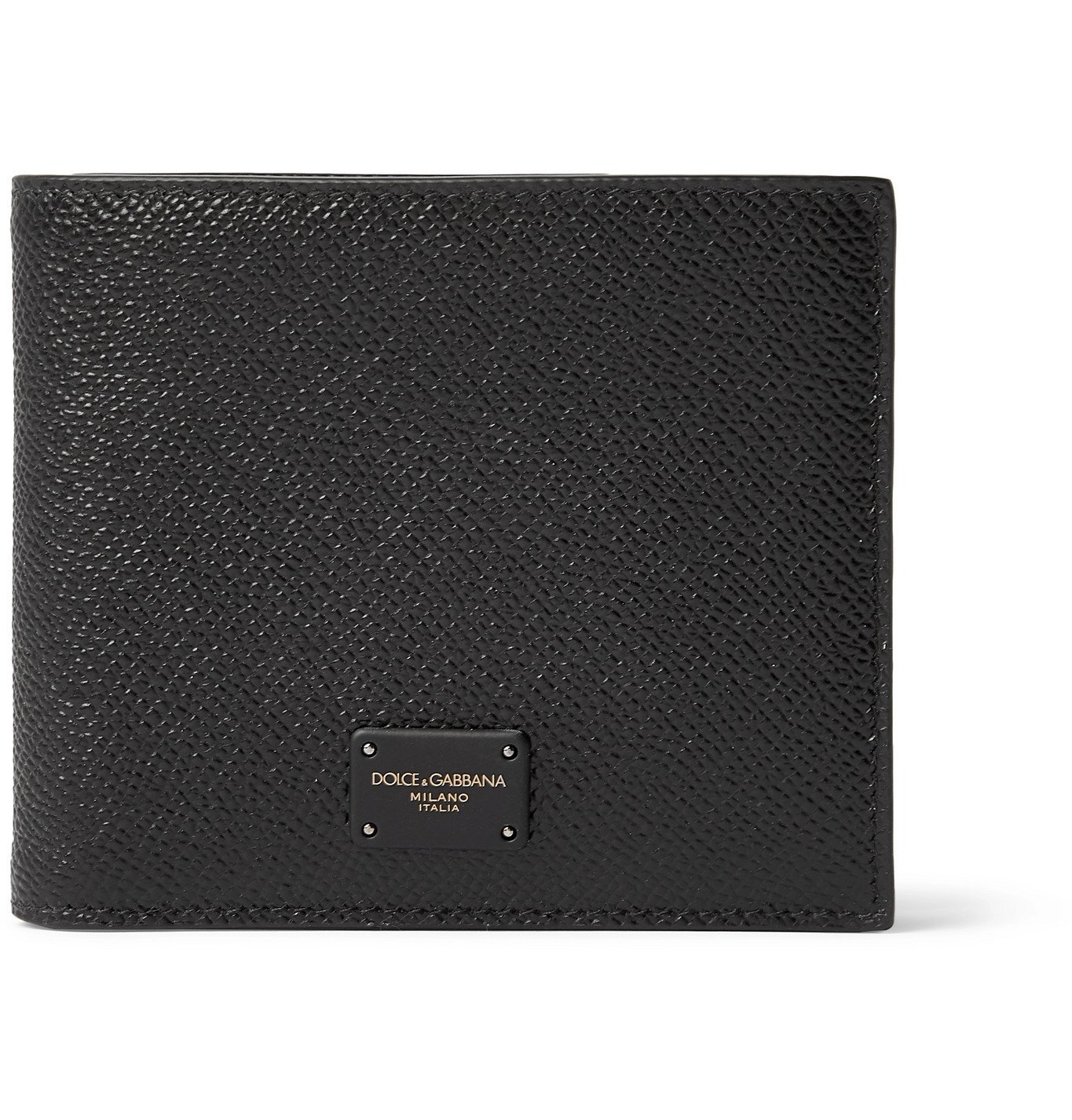Photo: Dolce & Gabbana - Logo-Appliquéd Pebble-Grain Leather Bifold Wallet - Black