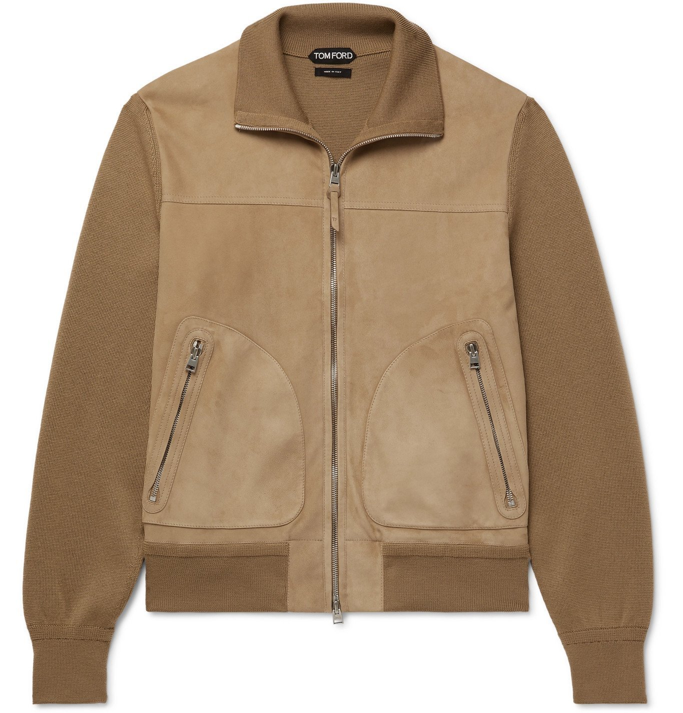 Photo: TOM FORD - Panelled Suede and Merino Wool Blouson Jacket - Neutrals